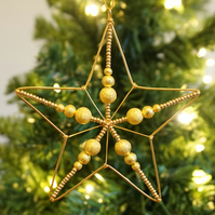 Set of Three Beaded Wire Star Christmas Decorations with Gold Sparkle Beads