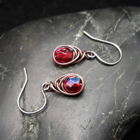 Copper Wire Wrapped Earrings with Faceted Red AB Glass Beads