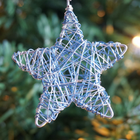 Set of Four Mini Scribble Star Christmas Decorations - Silver & Blue