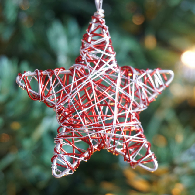 Set of Four Mini Scribble Star Christmas Decorations - Silver & Red