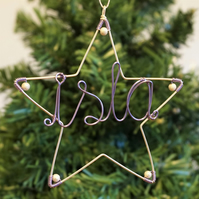 Personalised Christmas Star Decoration - Choice of Colours