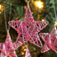 Set of Four Mini Scribble Star Christmas Decorations - Silver & Pink