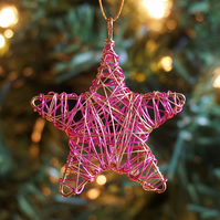 Set of Four Mini Scribble Star Christmas Decorations - Gold & Pink