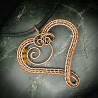 November Copper Heart Birthstone Pendant - Topaz Swarovski Crystal Beads