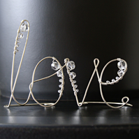 Little Beaded Love - Freestanding Wire Writing Decoration with Glass Facet Beads