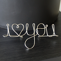 """I Heart You"" - Freestanding Wire Writing Decoration"