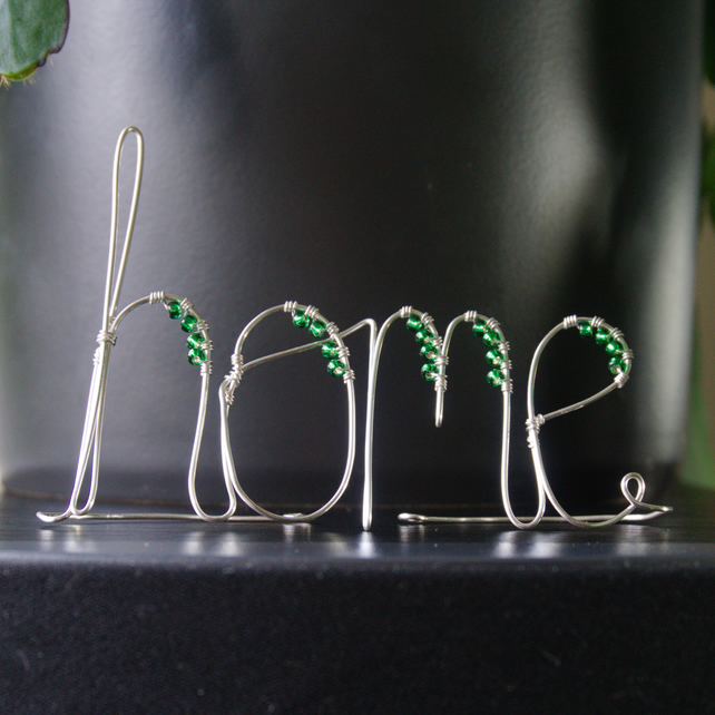 Beaded Home - Freestanding Wire Writing Decoration with Green Beading