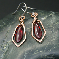 Hammered Copper Wire Earrings with Red Dagger Beads