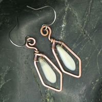 Hammered Copper Wire Earrings with Frosted White AB Dagger Beads