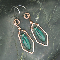 Hammered Copper Wire Earrings with Green Dagger Beads