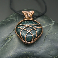 Copper Wire Wrapped Green Bloodstone Pendant