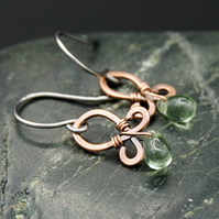 Hammered Copper Wire Earrings with Fern Green Glass Drops