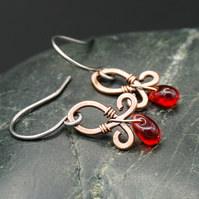 Hammered Copper Wire Earrings with Red Glass Drops