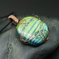 Copper Wire Wrapped Green & Blue Striped Dichroic Glass Square Pendant