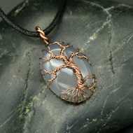 Copper Wire Wrapped Tree of Life Pendant with Translucent White Stone