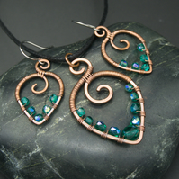 Hammered Copper Beaded Leaf Pendant & Matching Earrings with Teal Glass Beads