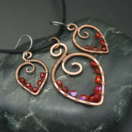 Hammered Copper Beaded Leaf Pendant & Matching Earrings with Red Glass Beads