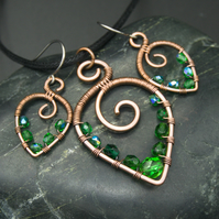 Hammered Copper Beaded Leaf Pendant & Matching Earrings with Emerald Green Beads
