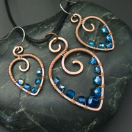 Hammered Copper Beaded Leaf Pendant & Matching Earrings with Capri Blue Beads