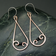 Hammered Copper Teardrop Swirl Earrings with Black Faceted Glass Beads