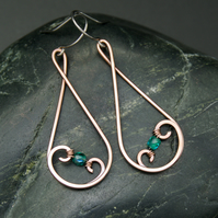 Hammered Copper Teardrop Swirl Earrings with Teal Faceted Glass Beads