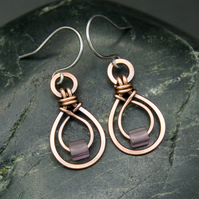 Hammered Copper Double Teardrop Earrings with Frosted Purple Glass Cube Beads
