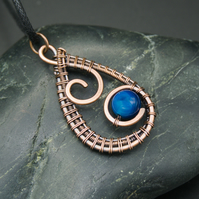 Copper Wire Weave Spiral Drop Pendant with Blue Agate Bead