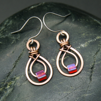 Hammered Copper Double Teardrop Earrings with Red AB Glass Cube Beads