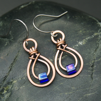 Hammered Copper Double Teardrop Earrings with Cobalt AB Glass Cube Beads
