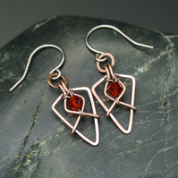Hammered Copper Arrowhead Earrings with Faceted Red Glass Beads