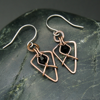 Hammered Copper Arrowhead Earrings with Black Beads