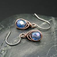 Copper Wire Wrapped Earrings with Faceted Pale Blue AB Glass Beads