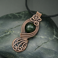 Copper Wire Woven Long Pendant with Faceted Green Agate bead