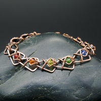 Copper Arrowhead Chain Link Bracelet with Rainbow & Black Faceted Glass Beads