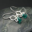 Hammered Sterling Silver Earrings with Teal Glass Drops