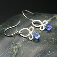 Hammered Sterling Silver Earrings with Pale Blue AB Glass Drops
