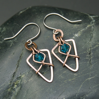 Hammered Copper Arrowhead Earrings with Faceted Turquoise Glass Beads