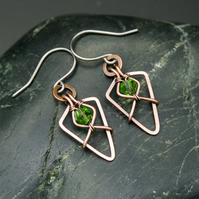 Hammered Copper Arrowhead Earrings with Faceted Light Green Glass Beads