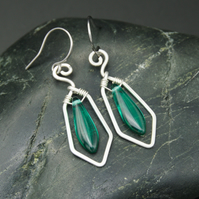 Hammered Sterling Silver Earrings with Green Glass Dagger Beads