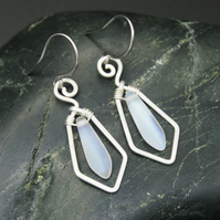 Hammered Sterling Silver Earrings with Frosted White AB Glass Dagger Beads