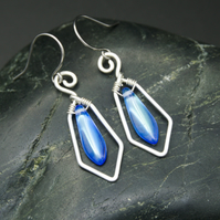Hammered Sterling Silver Earrings with Pale Blue AB Glass Dagger Beads