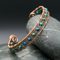 Wire Weave Copper Cuff with Chrysocolla Beads
