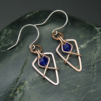 Hammered Copper Arrowhead Earrings with Faceted Blue Glass Beads