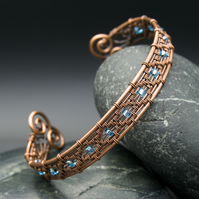 Diamond Wire Weave Copper Cuff with Aquamarine beads