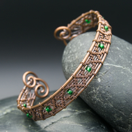 Diamond Wire Weave Copper Cuff with Green Beads