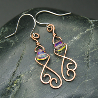 Hammered Copper Wire Earrings with Translucent Rainbow Glass Beads