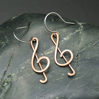 Musical Notation Earrings - Hammered Copper Treble Clef