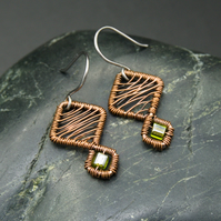 Copper Wire Weave Geometric Earrings with Olive Green Glass Cube Beads