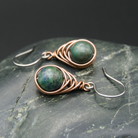 Copper Wire Wrapped Chrysocolla Earrings