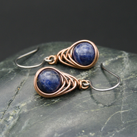 Copper Wire Wrapped Earrings with Sodalite Beads
